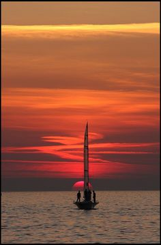 Sunset in Trieste, Italy  (sailing race)