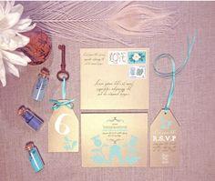 Custom wedding invitation set - invitation, RSVP tag, table number, & envelope - custom colours avail - min order 20+