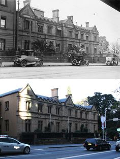 Pedestrians and cars outside the Supreme Court on Elizabeth Street, Sydney, 1920's > 2016. [National Library-Fairfax archives > Marwin Elkoj. By Marwin Elkoj]