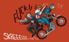 Bucky: Can you move your seat up? Sam: No…. (Cap shield to the face) Ow! Steve: This is swell, fellas! http://yawpkatsi.tumblr.com/