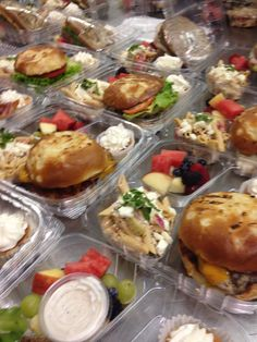Boxed lunches Boxed Lunch Catering, Sandwich Catering, Sandwich Bar, Box Lunches, Lunch Box, Lunch Delivery, Food Business Ideas, Lunch Buffet, Money Saving Meals