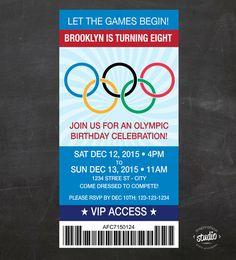 Olympics Ticket Birthday Invite - Let the Games Begin - Custom Printable Birthday Party Invite -