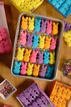 You're going to be in marshmallow heaven when you take a bite of these perfect-for-Easter Peeps cookie bars!