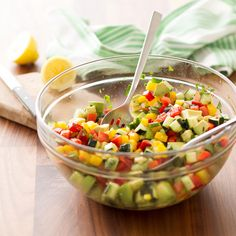 """Fiesta Chopped Salad Recipe -""""We serve this colorful garden feast when we find vegetables that are bursting with flavor,"""" writes Merwyn Garbini from her home in Tuscon, Arizona. The dressing makes the fresh salad a welcome companion for most any entree. Potluck Recipes, Grilling Recipes, Mexican Food Recipes, Cooking Recipes, Healthy Recipes, Ethnic Recipes, Thm Recipes, Side Recipes, Party Recipes"""