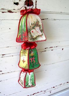 Vintage Christmas Bells made from Vintage Christmas Cards http://www.squidoo.com/recycle_christmascards http://www.mysocalledcraftylife.com/2012/11/20/diy-vintage-christmas-card-bowl/