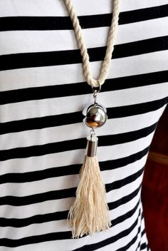DIY Nautical Rope tassel Necklace madeinaday.com