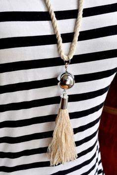 DIY Nautical Rope tassel Necklace madeinaday.com