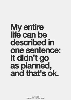 My entire life can be described in one sentence:  It didn't go as planned, and that's ok.