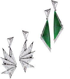 Earrings by Kavant & Sharart ORIGAMI COLLECTION :  Jadeite and Diamond earrings www.kavantandsharart.com