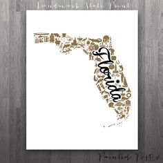 Orlando Florida Landmark State Giclée Print  8x10  by PaintedPost, $15.00 #paintedpoststudio - University of Central Florida - UCF Knights- What a great and memorable gift for graduation, sorority, hostess, and best friend gifts! Also perfect for dorm decor! :)