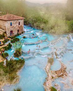 Beautiful Terme di Saturnia hot springs in Tuscany Italy.