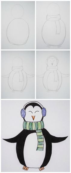 A perfect cold weather drawing project, this cute wintery penguin takes much less time to draw than you probably think. Learn how to draw it in this blog post.