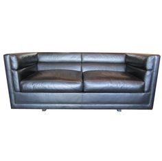 Leather settee by Edward Wormley for Dunbar   From a unique collection of antique and modern loveseats at https://www.1stdibs.com/furniture/seating/loveseats/