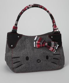 Take a look at this Hello Kitty Black & White Herringbone Tote by Hello Kitty on #zulily today!