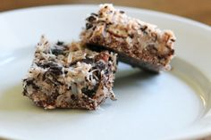 Coconut Cream Concentrate, coconut oil, and unsweetened dried coconut bring the coconut flavor to these easy to make, no bake, no cook, gluten free, dairy free, cane sugar free, wheat free and grain free cookie bars.