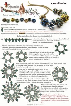 FREE Tutorial for Beaded SuperDuo Rondelles with large hole from Elfenatelier. Use: 21 SuperDuos, 14 rondelle beads OR bicone beads 3mm, 1g seed beads 11/0, 2g seed beads 15/0. Tutorial for the beaded rope (that uses 15/0 seed beads) can be found on elfen.be
