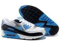 Nike Air Max 90 Womens White Silver Blue Black Trainers UK