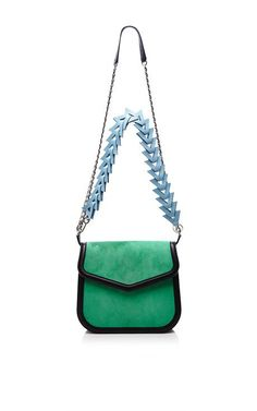 V Shoulder Bag In Green Suede by Loewe for Preorder on Moda Operandi