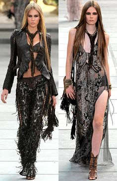 Sexy and glamorous bohemian look – Roberto Cavalli SS 2011 Couture Fashion, Diy Fashion, Fashion Outfits, Womens Fashion, Fashion Design, Style Fashion, Gypsy, Rock Chic, Boho Rock