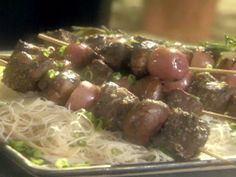 Steak, New Potato and Portobello Kebabs on Rosemary Skewers recipe from Emeril Lagasse via Food Network