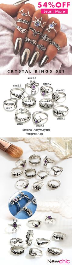 [Newchic Online Shopping] 54%OFF Crystal Rings Set