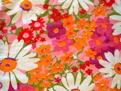 A Striking Daisy Extravaganza Retro Floral Fabric.// by KimberlyZ