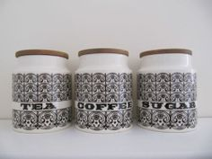 Hornsea Scroll - Tea, Coffee, Sugar - white cannisters