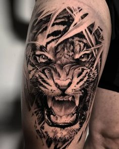 Realistic Tiger Tattoo made by John Hudic in Holland, Amsterdam at Freedom and Flesh Mens Tiger Tattoo, Tiger Face Tattoo, Big Cat Tattoo, Animal Sleeve Tattoo, Lion Tattoo Sleeves, Tiger Tattoo Design, Leg Tattoo Men, Best Sleeve Tattoos, Tattoo Sleeve Designs