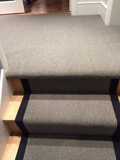 Client: Private Residence In North London Brief: To supply & install grey stair carpet with black border to stairs