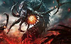 Magic: The Gathering / Flameborn Hellion by Aleksi--Briclot on deviantART Monster Concept Art, Alien Concept Art, Creature Concept Art, Monster Art, Fantasy Demon, Fantasy Monster, Dark Fantasy Art, Beast Creature, Dark Drawings