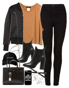 """Outfit for autumn with black jeans"" by ferned on Polyvore featuring Topshop, H&M, Windsor Smith, Yves Saint Laurent, Casetify and Monica Vinader"