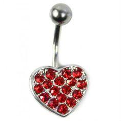 Corazón de mini cristales rojos