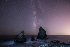Milky Way, Boulders, Sea, Beach