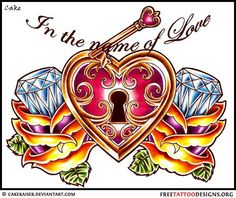 Heart and lock tattoo design with diamonds . . . maybe with out the diamonds in the roses. . . one or the other