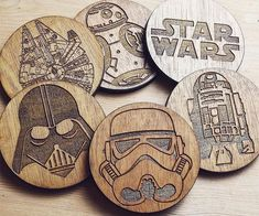 May the force be with your drink this season with these wooden star wars coaters. The coasters are handmade and engraved with your favorite star wars laser engraving ideas Laser Cutter Ideas, Laser Cutter Projects, Cnc Projects, Wood Burning Crafts, Wood Burning Art, Wood Crafts, Gravure Laser, Star Wars Set, Wooden Stars