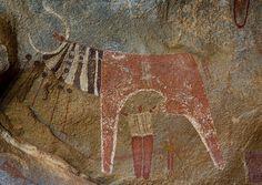 Laas Geel Rock Art Caves, Paintings Depicting Cows And Human Beings Somaliland |