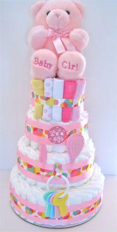 baby girl diaper cakes | Girl Diaper Cakes | Baby Shower Diaper Cakes | Baby Girl Gifts ...