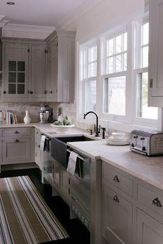 Gray cabinets, Dash and Albert rug