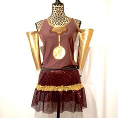 Cogsworth from Beauty and Beast inspired running costume- shirt, sparkle skirt optional arm sleeves by RockCitySkirts on Etsy
