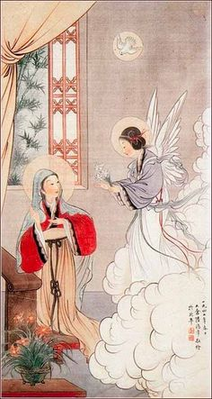 The Annunciation to Mary by John Lu Hung Nien (Lu Hongnian), ca. 1948. Chinese watercolor on silk. The artist was born in Beijing in 1914 and was a convert of the Divine Word Missionaries. This is one of his last works, before Mao took power.