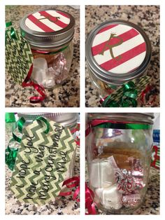 S'more in a jar!  4 graham cracker halves  2 marshmallows  6 kisses of your choice. (I chose candy cane because 1. I'm addicted. 2. IT'S CHRISTMAS!!!)   Mason Jars are 50% off at hobby lobby right now :)   Great gift for co-workers, or large groups of people. Paid less then $30 to gift 10 people :)   Enjoy!!