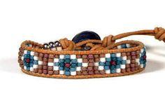 Bead Loom Bracelet Leather Wrap Bracelet Turquoise Blue