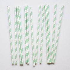 4.50euros -  20 pailles en papier rayures vert d'eau- My little day
