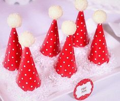 Santa Hat Cake Pops - ice cream cone hat and cake pom pom