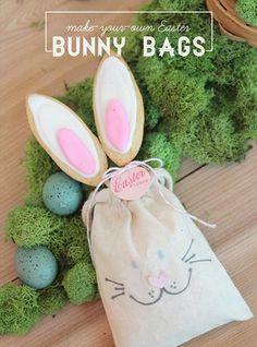 manualidades infantiles bolsa conejo pascua1 Bolsitas con el conejito de Pascua