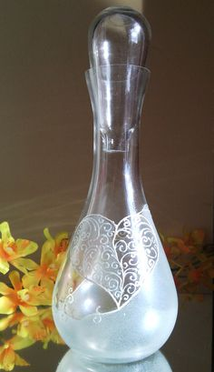 Hand painted bottle carafe Love by PaintedGlassBiliana on Etsy, $28.00