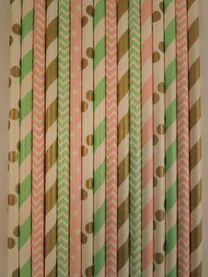 Paper Straws (50), Straws, Light Pink, Gold Mint, Striped Straws, Wedding Mason Jar Straws Chevron Straws Kids Birthday Bridal Baby Shower