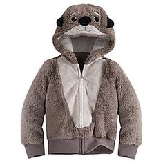 Otter Costume Hoodie for Girls - Finding Dory | Disney Store They'll feel lovely and warm when they get into character as one of the otters from Disney•Pixar's <i>Finding Dory</i>. This super soft and furry jacket features the otter's sweet face on the hood, complete with cute 3D ears.
