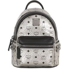 MCM Extra Mini Stark Laminated Backpack ($650) ❤ liked on Polyvore featuring bags, backpacks, accessories, silver, mini bag, zipper bag, backpacks bags, mcm backpack and mcm bags