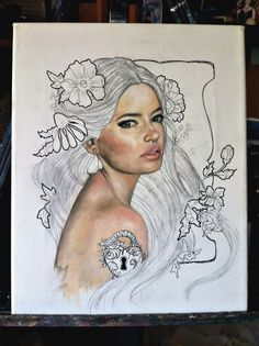 Wendy Ortiz-New piece in progress. Oil on canvass.. And ink and pencil..